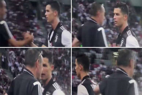 لحظة خروج رونالدو من الملعب و علامات الغضب ظاهرة على محياه
