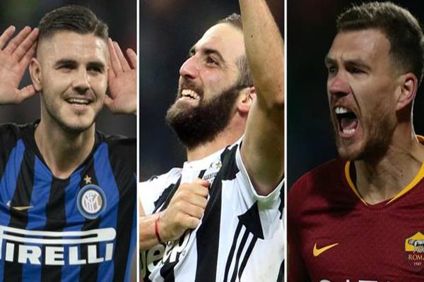 الرصيد التهديفي الإجمالي للثلاثي الهجومي قد بلغ 300 هدففي بطولة الدوري الإيطالي