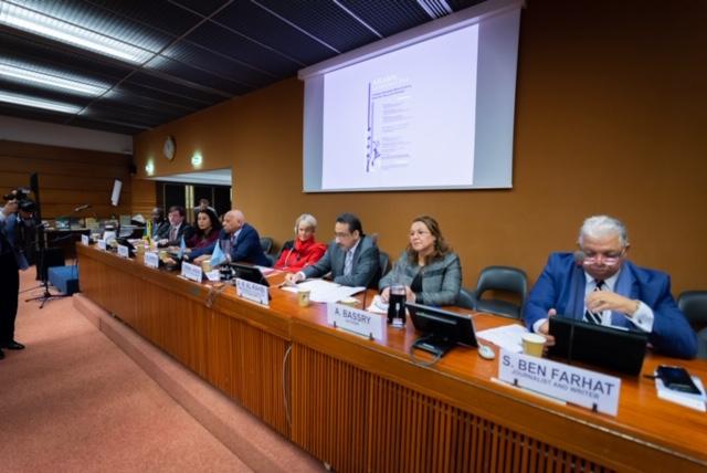 الروائية المغربية عائشة البصري الثانية من اليمين خلال حضورها في مقر الأمم المتحدة لحقوق الإنسان بجنيف
