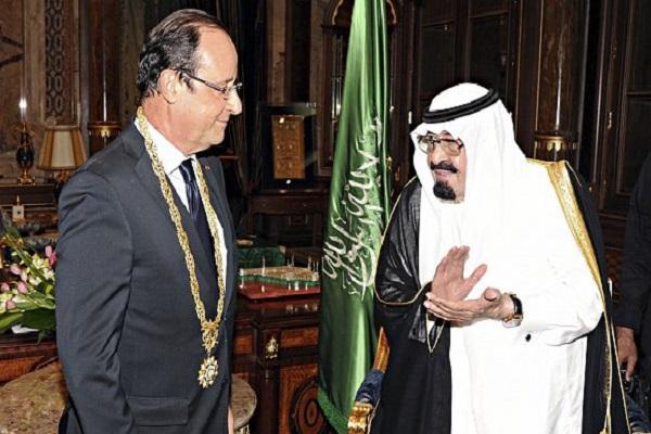 العاهل السعودي الملك عبد الله والرئيس الفرنسي فرانسوا هولاند