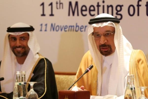 وزير الطاقة السعودي خالد الفالح (يمين) ونظيره الإماراتي سهيل المزروعي