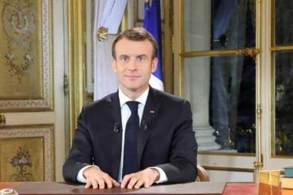 الرئيس الفرنسي إيمانويل ماكرون خلال خطاب إلى الأمة في 10 ديسمبر 2018