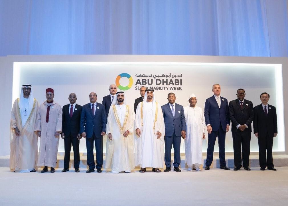عدد من القادة خلال افتتاح أسبوع أبوظبي للاستدامة