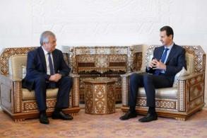 صورة نشرتها الرئاسة السورية على موقعها في فايسبوك للقاء بين الأسد وموفد روسي في دمشق الجمعة في 19 إبريل 2019