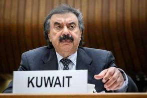 نائب وزير الخارجية الكويتي خالد الجار الله خلال مؤتمر حول اليمن في جنيف في 26 فبراير 2019