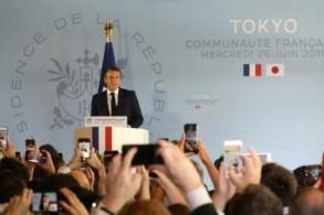 الرئيس الفرنسي إيمانويل ماكرون يلقي خطابًا في السفارة الفرنسية لدى طوكيو في اليابان في 26 يونيو 2019