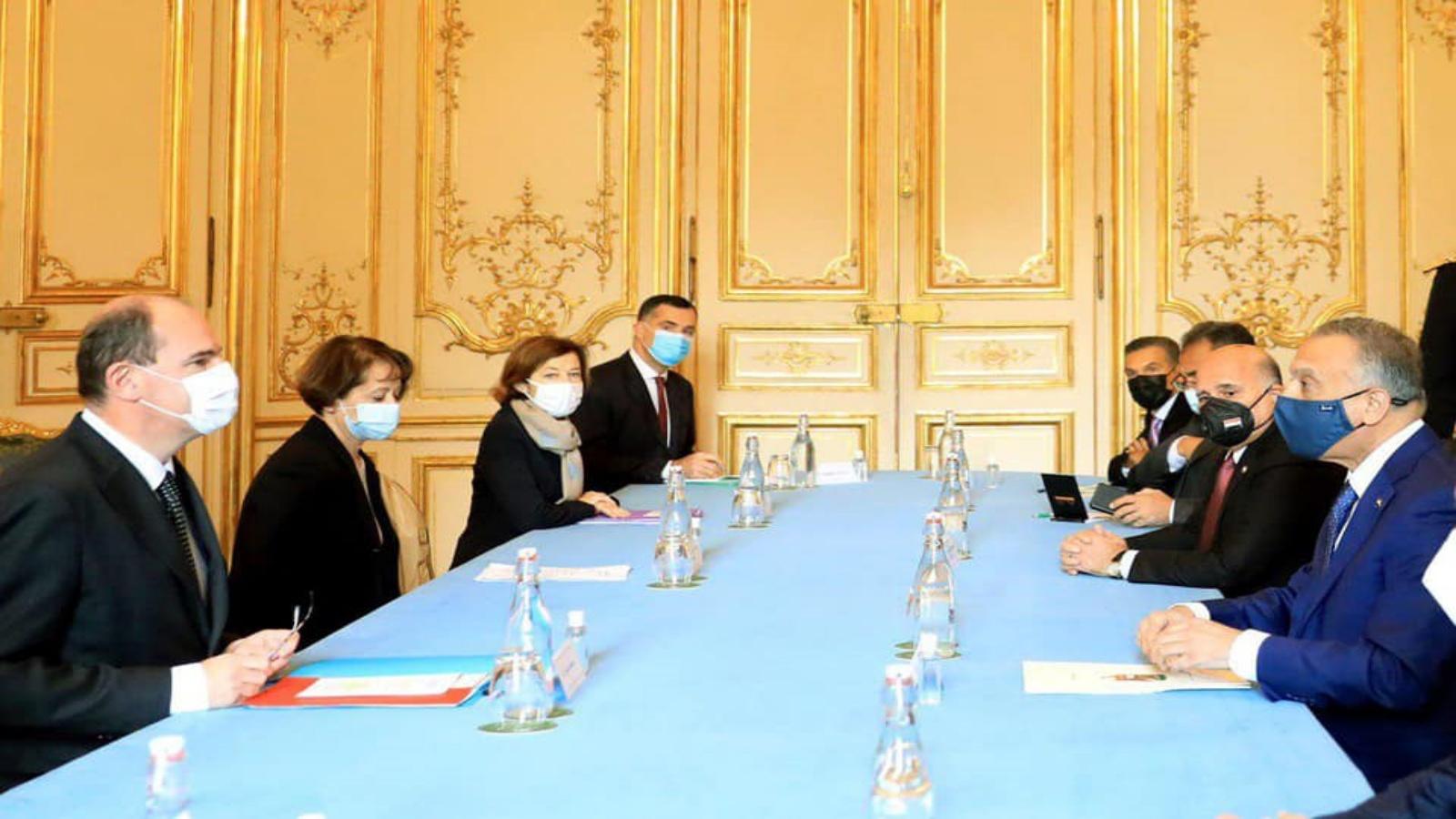 المباحثات العراقية الفرنسية برئاسة الكاظمي وكاستيكس