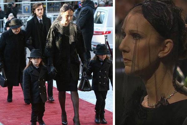 سيلين ديون تدخل الى الكنيسة مع توأمها ويبدو نجلها الأكبر ووالدتها في الخلف
