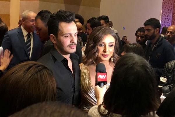أنغام وزوجها خلال حفل اطلاق ألبومها