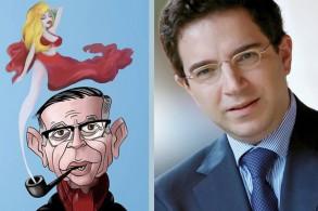 الكسندر نجار مع كاريكاتور مسرحيته