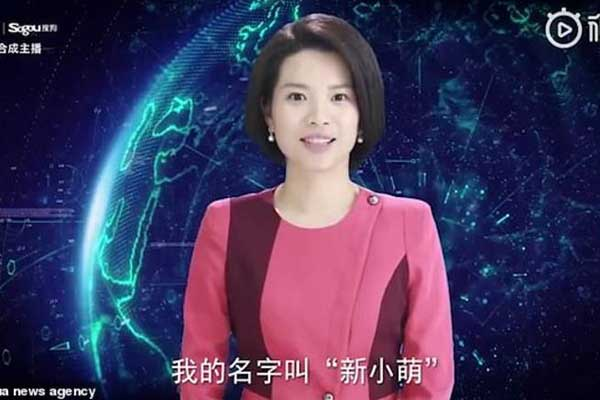 شين خيومينغ أولى المذيعات الآليات التي صنعتها الصين لحساب وكالة شينخوا للأنباء