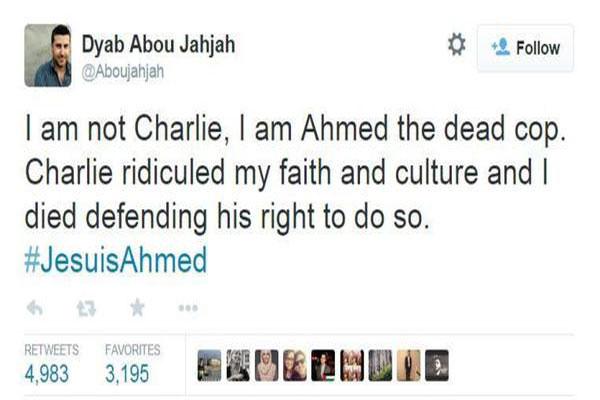 تغريدة لأحد المتضامنين مع الشرطي المسلم الذي قضى في هجوم باريس