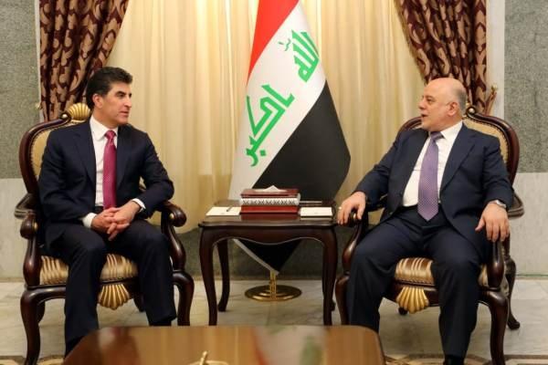 العبادي مجتمعا في بغداد مع نجيرفان بارزاني
