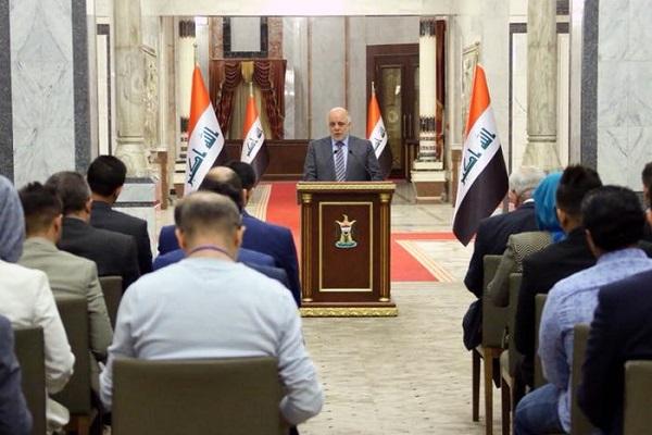 العبادي متحدثا خلال مؤتمره الصحافي اليوم
