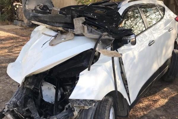 سيارة الموظف العراقي بمجلس الوفاة المتوفي إثر تصادم سيارته مع سيارة للسفارة الاسبانية