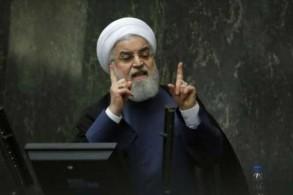 الرئيس الإيراني حسن روحاني يتحدث في البرلمان في طهران في 28 أغسطس 2018