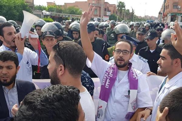 أثناء تدخل القوات العمومية لمنع المسيرة بمراكش