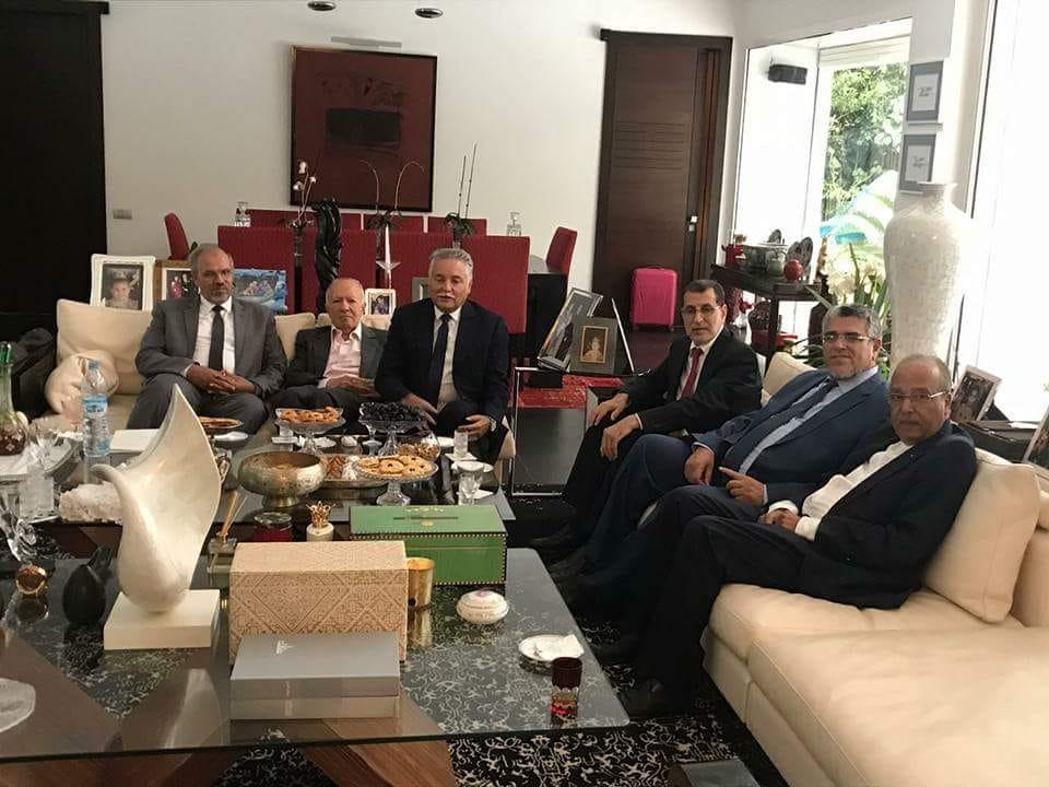 وفد حزب العدالة والتنمية لدى زيارته منزل نبيل بنعبدالله الامين العام لحزب التقدم والاشتراكية