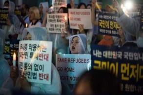 محتجون كوريون جنوبيون يدعون إلى طرد اللاجئين اليمنيين في سول