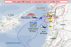 خارطة للتحركات الجوية نشرتها وزارة الدفاع الروسية