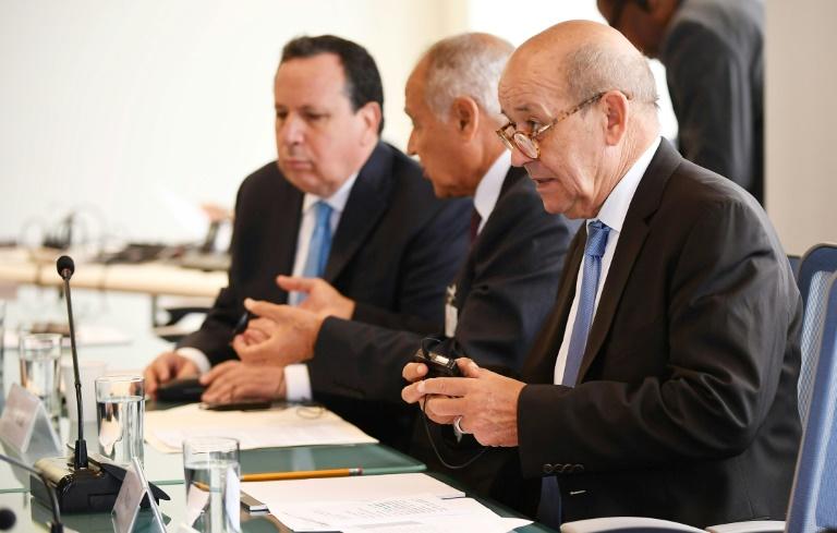 وزير الخارجية الفرنسي جان إيف لودريان يشارك في اجتماع حول ليبيا في نيويورك في 24 أيلول/سبتمبر 2018