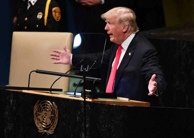 الرئيس الأميركي متحدثا أمام الجمعية العامة للأمم المتحدة