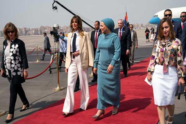 سيدة مصر الأولى انتصار عامر تستقبل نظيرتها الأميركية ميلانيا ترمب