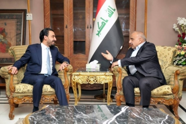 عبد المهدي والحلبوسي خلال اجتماعهما اليوم