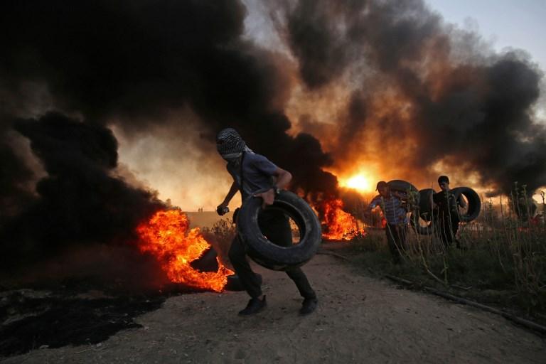 جانب من الاشتباكات قرب حدود قطاع غزة