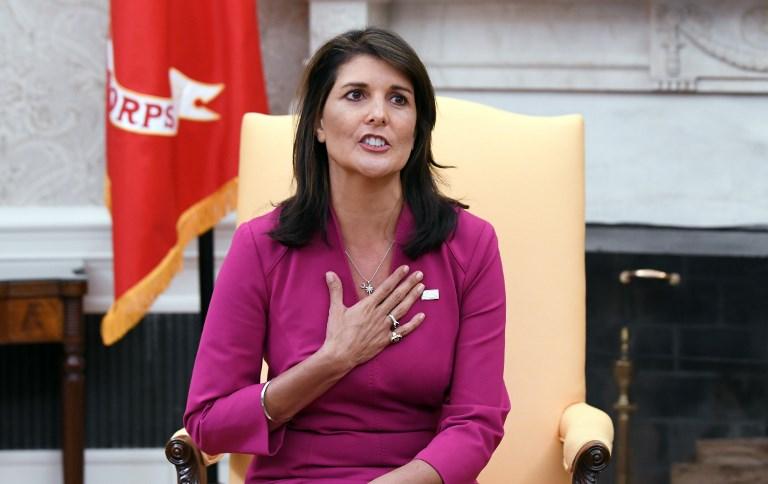 نيكي هايلي سفيرة ترمب لدى الأمم المتحدة المستقيلة