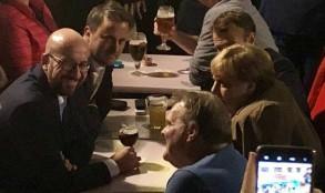 ميركل، ماكرون، بيتل وميشيل في الحانة