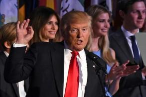 الرئيس الأميركي دونالد ترمب مع عائلته ليلة انتخابه رئيسًا بتاريخ 9 نوفمبر 2016