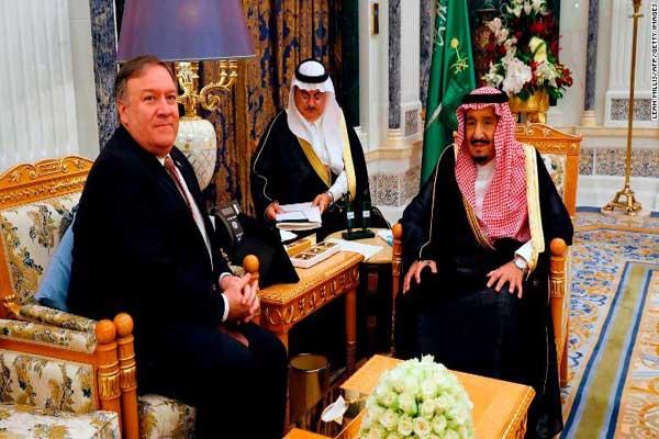 وزير الخارجية الأميركية مجتمعًا مع الملك سلمان