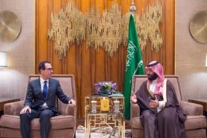 ولي العهد السعودي خلال استقباله وزير الخزانة الأميركية