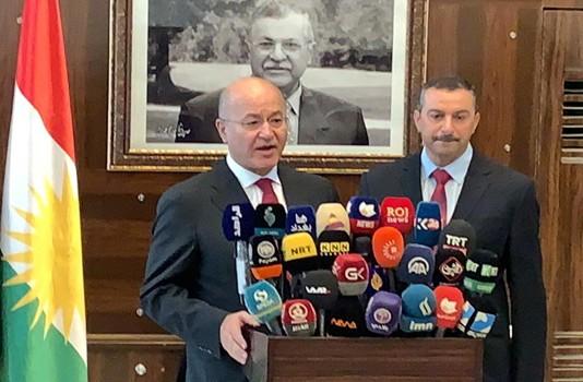 الرئيس صالح خلال مؤتمره الصحافي في السليمانية