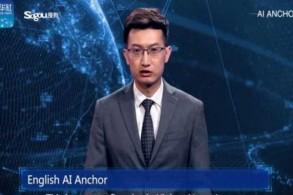 أحد المذيعين الآليين الذي يقدم نشرة إخبارية باللغة الانكليزية
