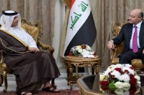 وزير خارجية قطر مجتمعا مع الرئيس العراقي برهم صالح