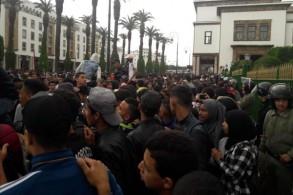 جانب من مظاهرة التلاميذ في الرباط اليوم