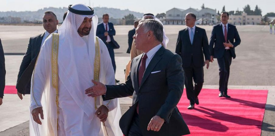 العاهل الأردني مستقبلا ولي عهد ابو ظبي