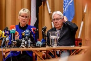 وزيرة الخارجية السويدية مارغو وولستروم والموفد الدولي الخاص الى اليمن مارتن غريفيث
