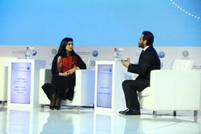 الأميرة سمية بنت الحسن خلال الجلسة الحوارية التي انعقدت على هامش فعاليات قمة المعرفة 2018