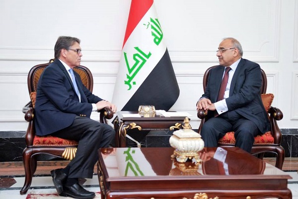 عبد المهدي مجتمعا مع وزير الطاقة الاميركي، ريك بيري