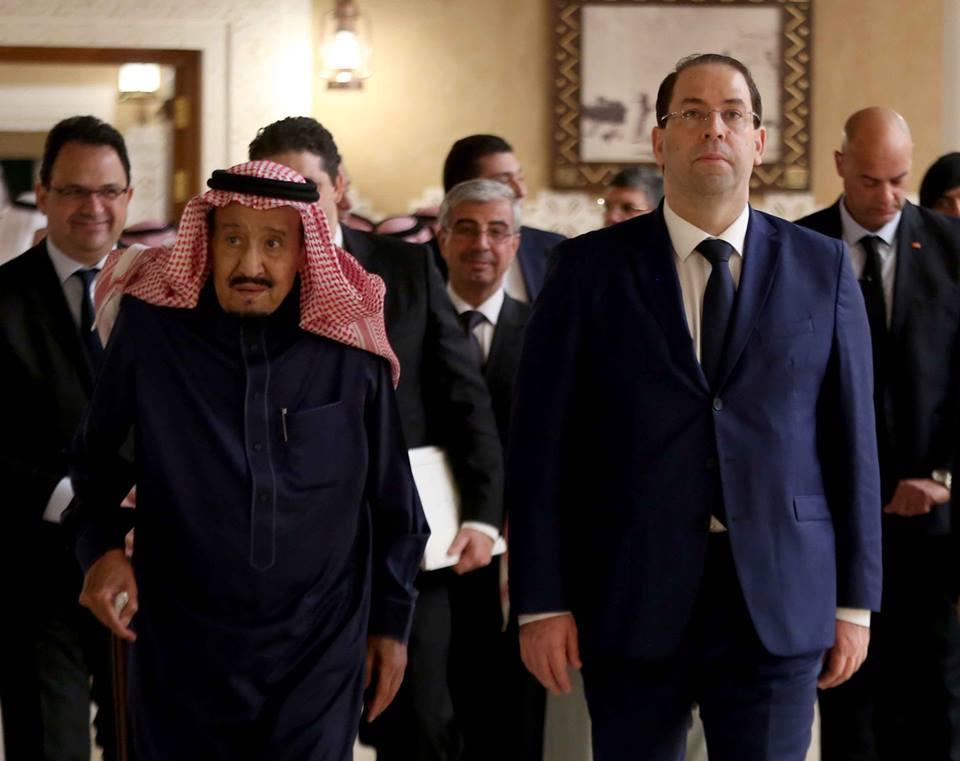 الملك سلمان مع يوسف الشاهد في قصر العوجة بالدرعية