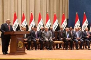عبد المهدي في البرلمان مع وزراء تشكيلته الحكومية الجزئية