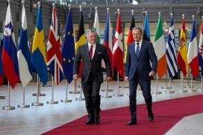 رئيس المجلس الأوروبي مستقبلا العاهل الأردني