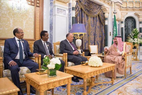 الملك سلمان يستقبل وزراء خارجية مصر وجيبوتي والصومال والسودان ونائب وزير الخارجية اليمني والأمين العام لوزارة الخارجية وشؤون المغتربين الأردني