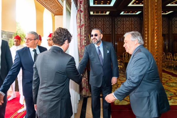 الملك محمد السادس لدى استقباله غوتيريش اليوم