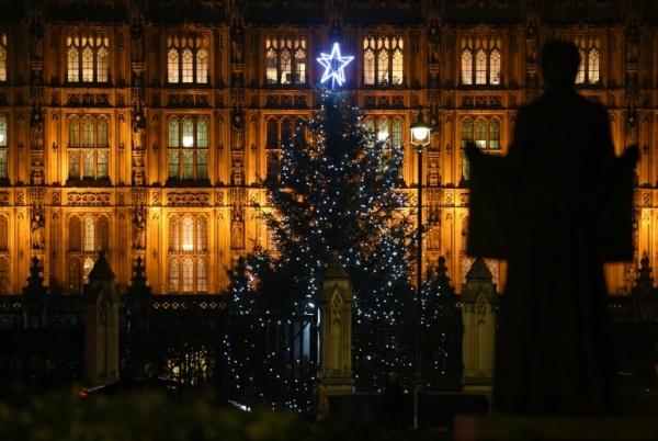 شجرة عيد الميلاد أمام البرلمان البريطاني في لندن في 11 ديسمبر 2018