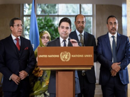 ناصر بوريطة وزير الخارجية والتعاون الدولي متحدثا بعد ختام لقاء جنيف