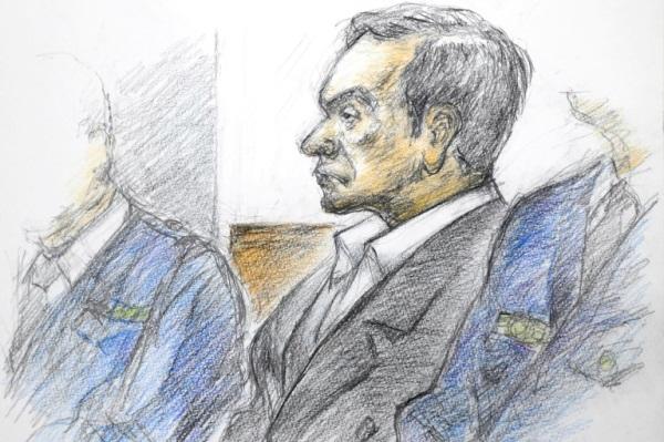 صورة لكارلوس غصن في المحكمة